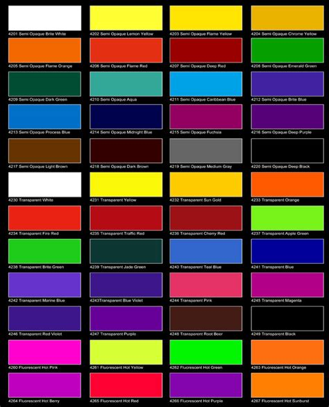 ato colors beadbag colour charts