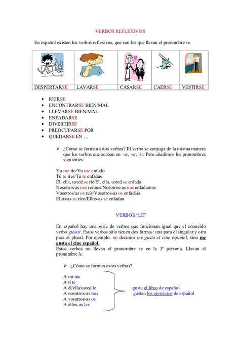 imagenes verbos reflexivos verbos reflexivos y verbos le