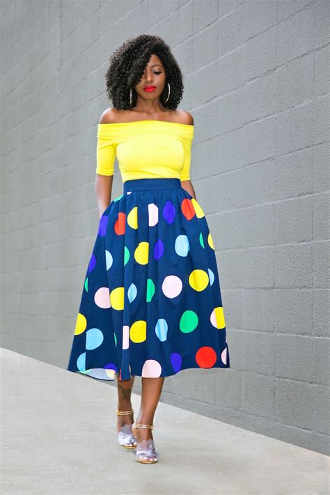 Boots Ah Bless by Shoulder Top Polka Dot Midi Skirt Style Pantry