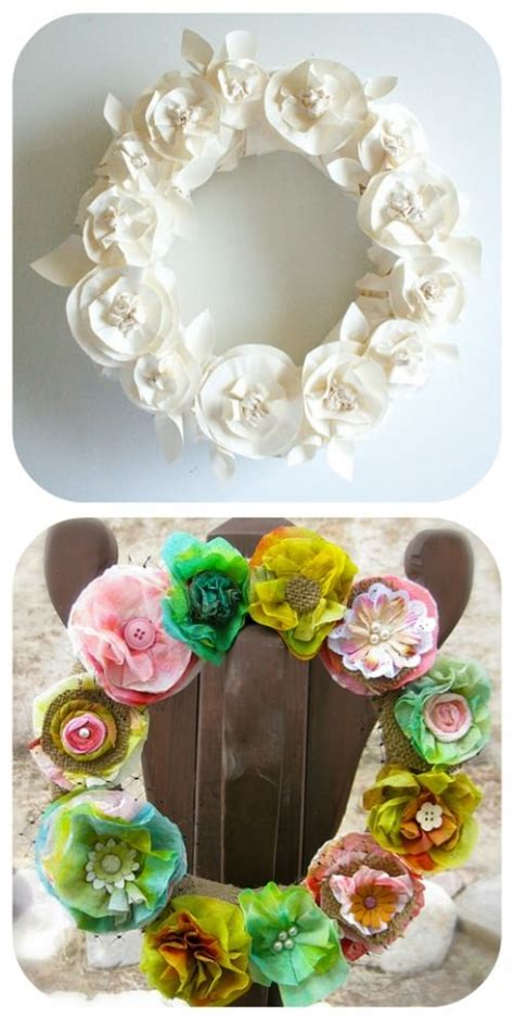tissue paper flower wreath tutorial how to make a wreath diy fall wreath fabric wreaths