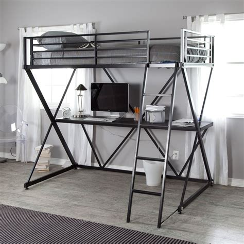 black new metal size bunk bed loft with desk and