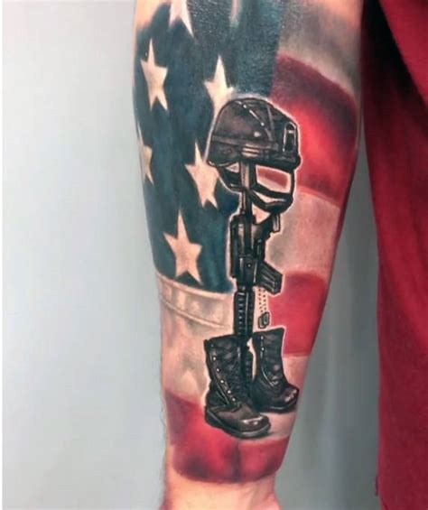 soldier cross tattoo 50 fallen soldier designs for memorial ideas
