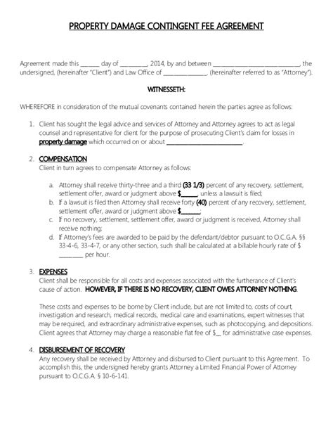 fee agreement template attorney retainer contract property damage contingent