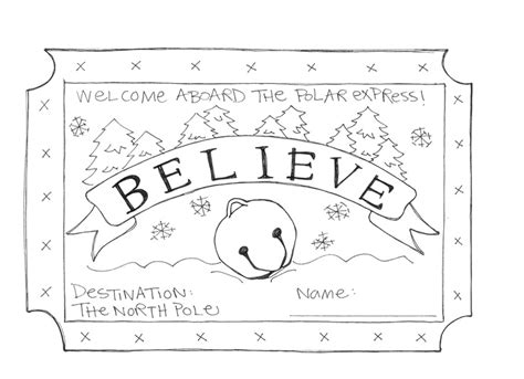 polar express coloring pages free printable polar express coloring pages ticket coloringstar