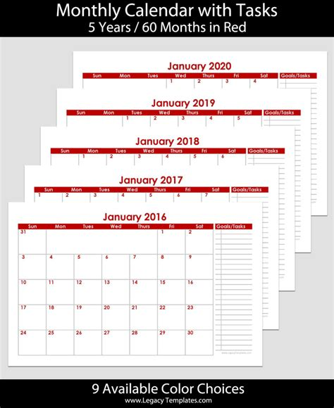 printable calendar 2016 5 5 x 8 5 2016 to 2020 60 month landscape calendar with tasks 5 5