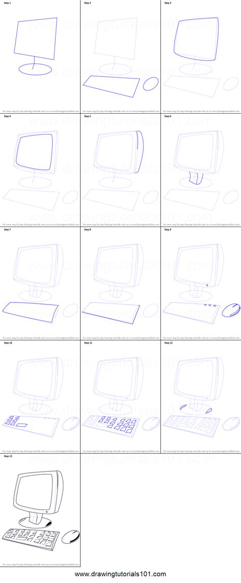 how to draw on computer how to draw a computer for printable step by step