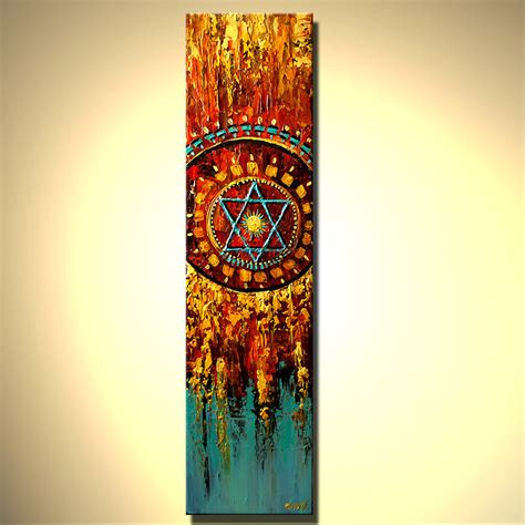 Earth Home Decor by Abstract Painting Colorful Magen David Vertical Painting