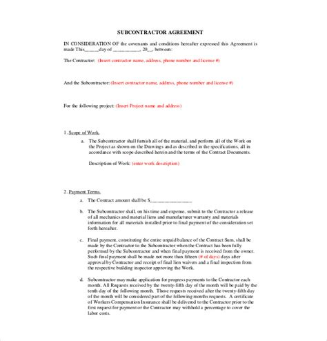 subcontracting agreement template subcontractor agreement template 10 free word pdf