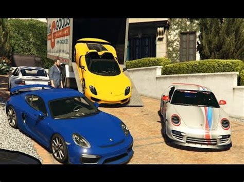 gta 5 real car mods my car collection youtube gta 5 porsche delivery michael s collection real car