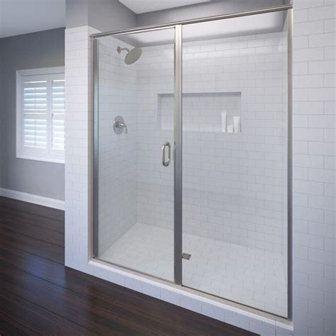 Bosco Shower Doors Basco Deluxe 59 In X 68 5 8 In Framed Pivot Shower Door In Brushed Nickel With Clear Glass