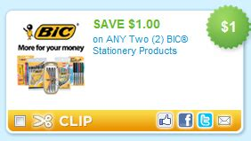 printable stationery coupons hot 1 2 bic stationery products coupon possibly free