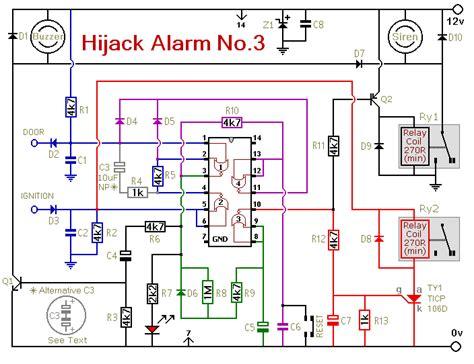 build vehicle anti hijack alarm  circuit diagram
