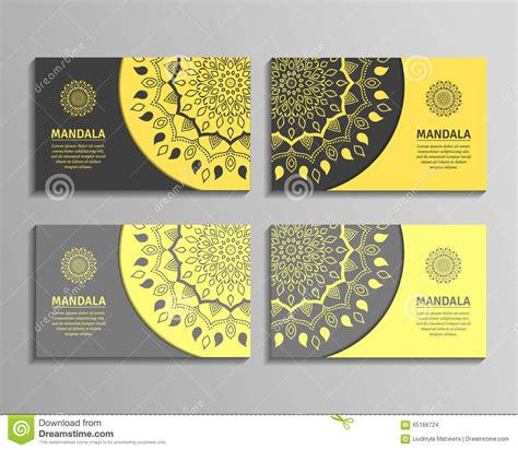 card template sets sets of mandala business cards stock vector image 65166724