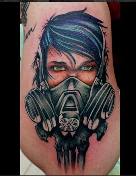 tattoo girl with mask girl with a gas mask by joe salois tattoonow