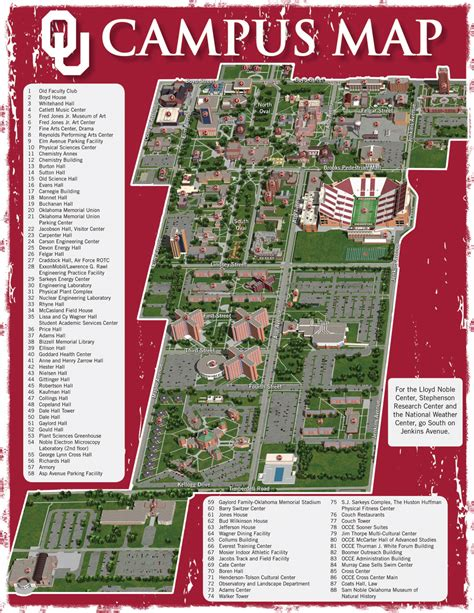 Maps, Contacts and Info   University of Oklahoma Campus