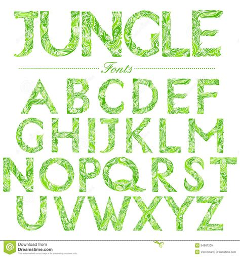jungle type font font in jungle style swirl stock vector image
