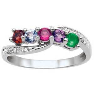 mothers birthstone rings s birthstone and accent family wave ring in sterling silver 2 5 stones