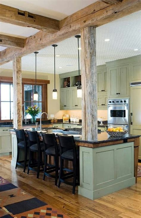 Modern Rustic Kitchen Love The Wood And The Sage Green Rustic Black Kitchen Cabinets