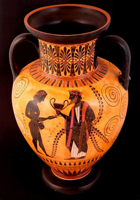 Achilles And Penthesilea Vase by Classical Pottery Hora Classical Black Figured