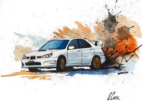 Kaos Print Umakuka Original Rally Car paintings by erin carr window on the world created in gouache subaru sti