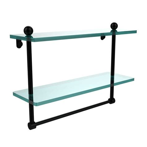 vincenza curvo 8 in x 40 in black glass shelf with 2