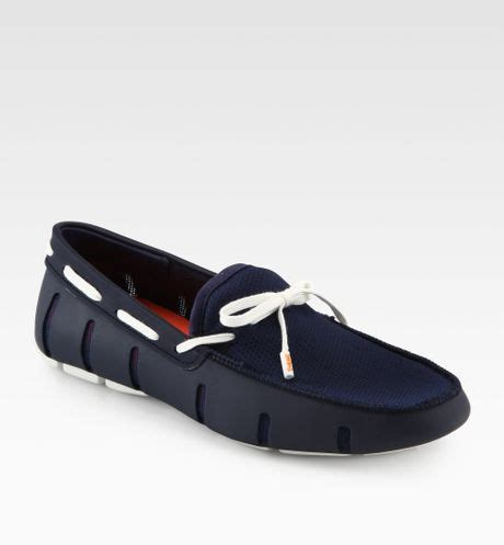 swims rubber loafers swims rubber mesh loafers in blue for navy lyst
