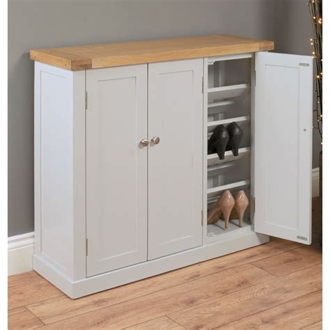 Large Shoe Storage Cabinet Chadwick Grey Painted Oak Hallway Furniture Large Shoe Storage Cabinet Cupboard Ebay