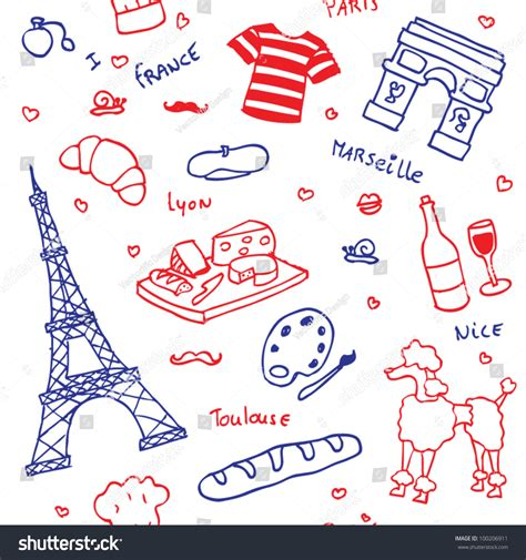 the word pattern in french french symbols icons seamless pattern stock vector