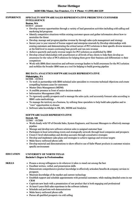 software sales representative resume sles velvet