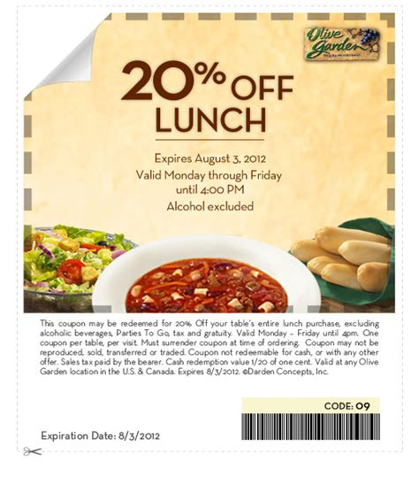 Coupon Code For Olive Garden by Olive Garden 20 Lunch Coupon The Pennywisemama