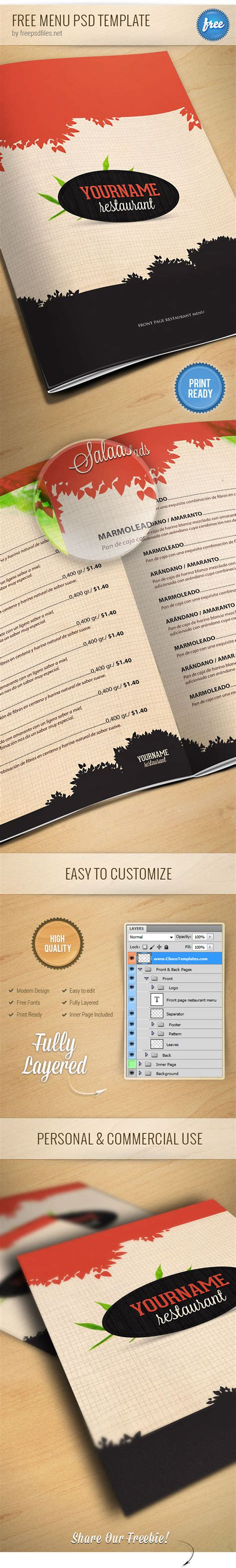 restaurant menu psd template free psd files