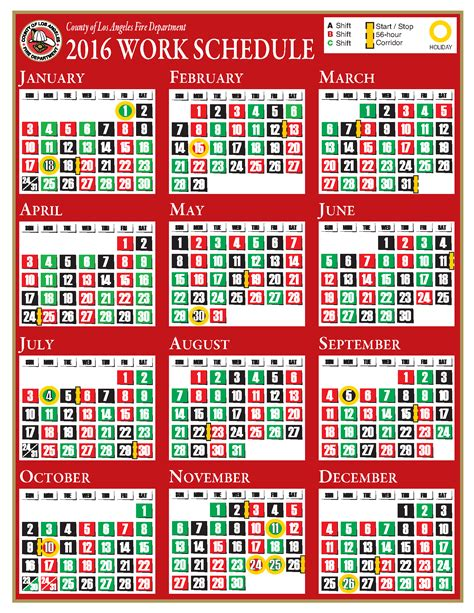 printable kelly schedule search results for 2016 fire department shift calendar