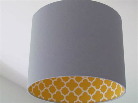 brown l shade with gold lining handmade light grey mustard quatrefoil geometric drum