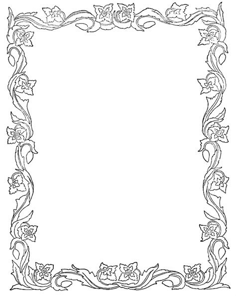 printable paper with flower border photoshop borders templates printable spring leaves