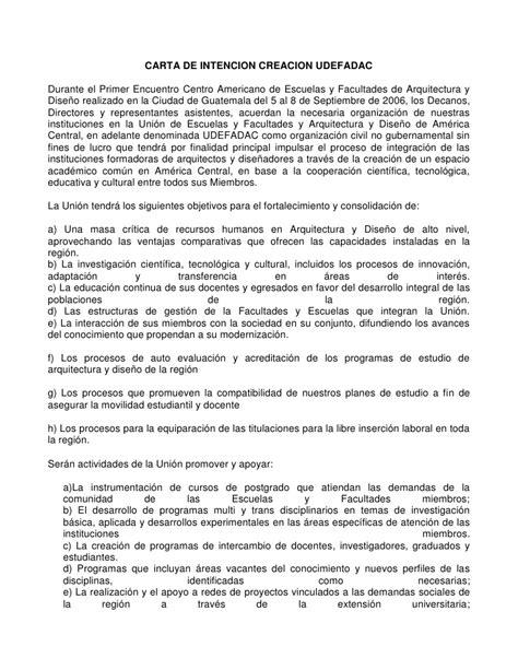 carta de intencion trabajo carta de intencion creacion udefadac guatemala 2006
