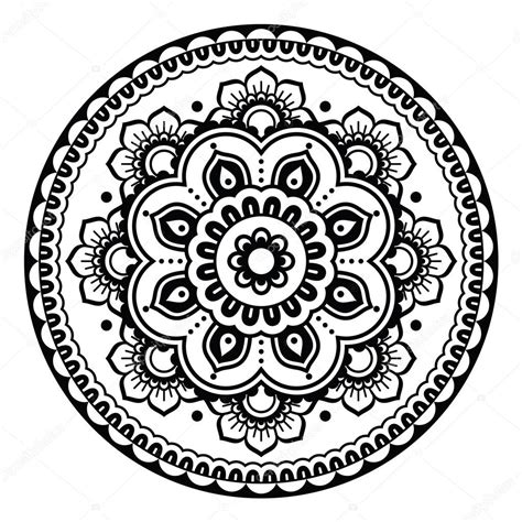 indian mehndi henna floral tattoo round pattern stock