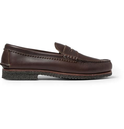 quoddy loafers quoddy crepe sole leather loafers in brown for