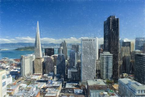 colored pencil sketch of san francisco skyline painting by