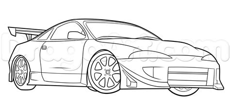 mitsubishi eclipse drawing how to draw a mitsubishi eclipse by cars draw