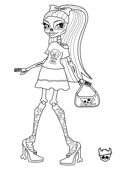 coloring pages free monster high monster high skelita calaveras coloring page learn to