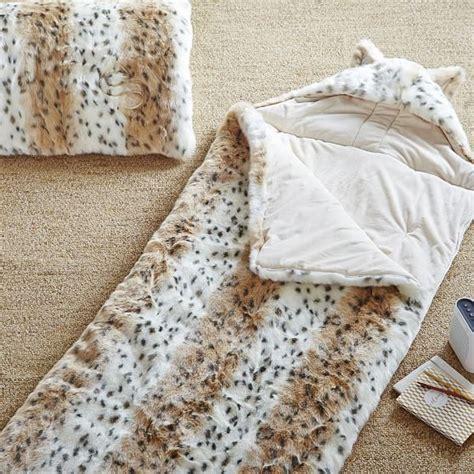 snow leopard faux fur comforter faux fur sleeping bag w hood snow leopard pbteen