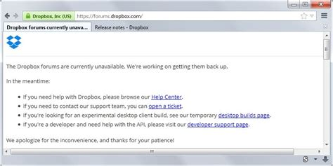 dropbox down dropbox forum have been offline for almost a month