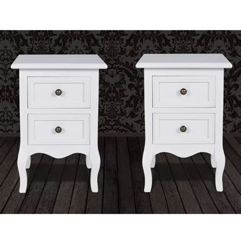 Set Of Two Nightstands by Set Of 2 White Two Drawer Nightstands Vidaxl Au