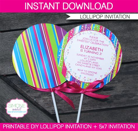 lollipop invitation template lollipop invitation new in my candyland printable collection