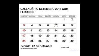 Calendario Setembro 2017 Calend 193 Setembro 2017 Feriados