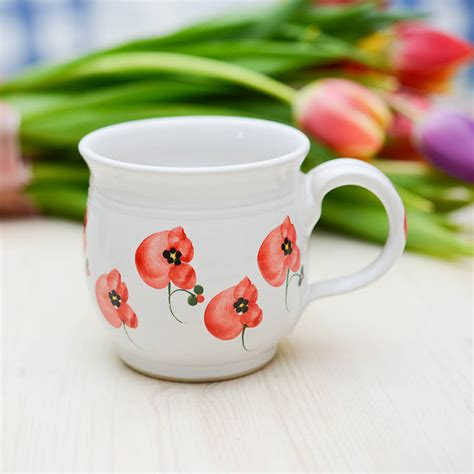 Handmade Tea Cups - handmade poppy tea cup by terry pottery
