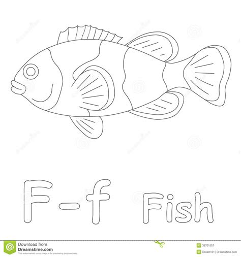 F Fish Coloring Page by F For Fish Coloring Page Stock Illustration Image 39701557