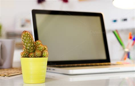 desk cactus cactus on the office desk business photos on creative market
