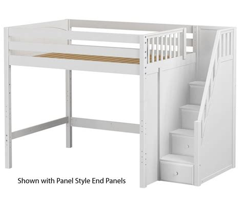 Maxtrix Enormous High Loft Bed With Stairs In White Shop White Loft Bed With Desk And Stairs