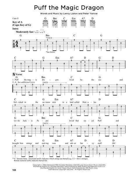 printable lyrics for puff the magic dragon puff the magic dragon sheet music direct
